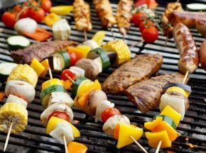 best gas grills for the money - grilling kebab