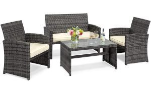 Goplus 4 piece rattan patio furniture set