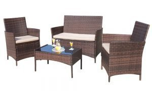 Homall 4 piece Outdoor Patio Set Rattan