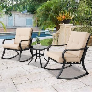 SOLAURA Outdoor Rocking Chairs Bistro Set 3-Piece